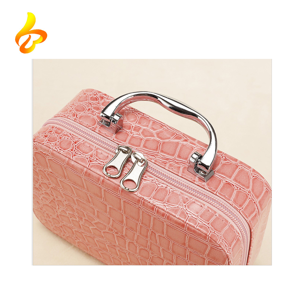 Leather Cosmetic Box Case Storage Bag Portable Ladies Travel Cosmetic Case