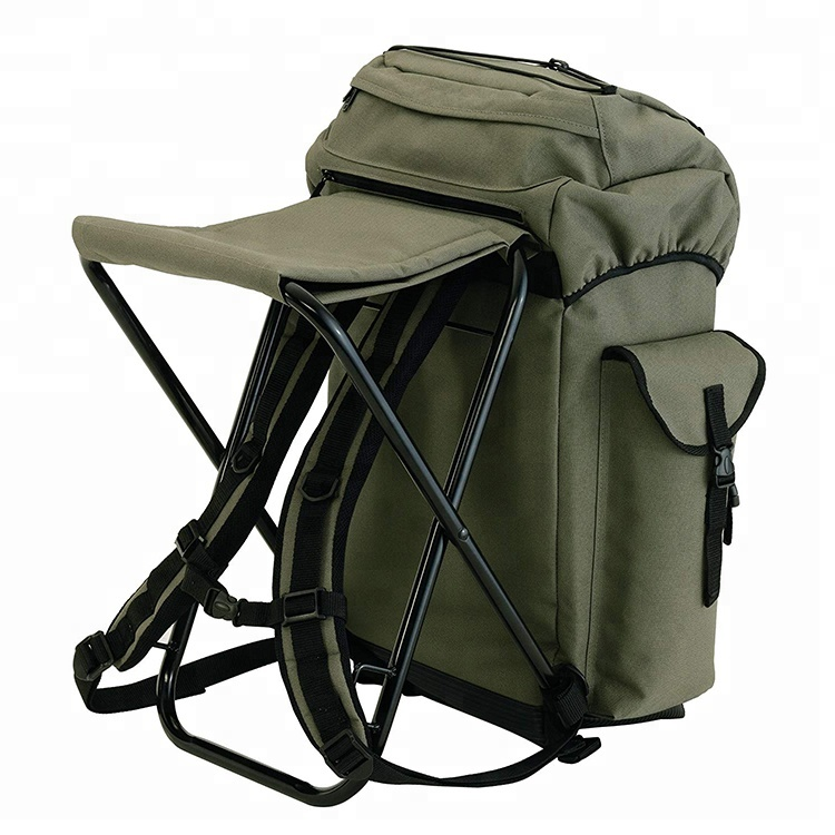 Alibaba Supplier Multi-purpose  600D PVC Outdoor Foldable  Fishing Bag with Stool