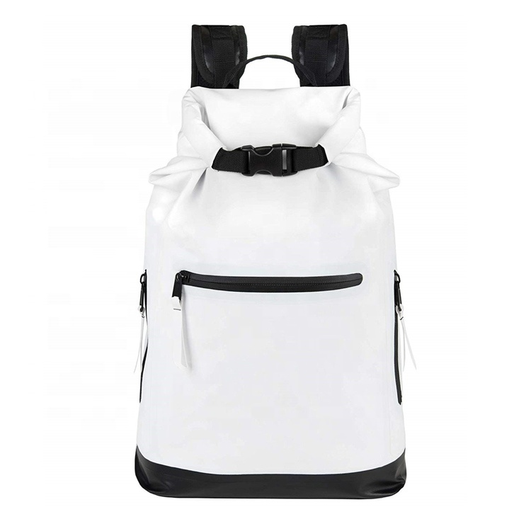 Waterproof Dry Bag Backpack White Heavy Duty Roll Top Closure 30L Dry Bag For Rafting Skating Camping Featured Image
