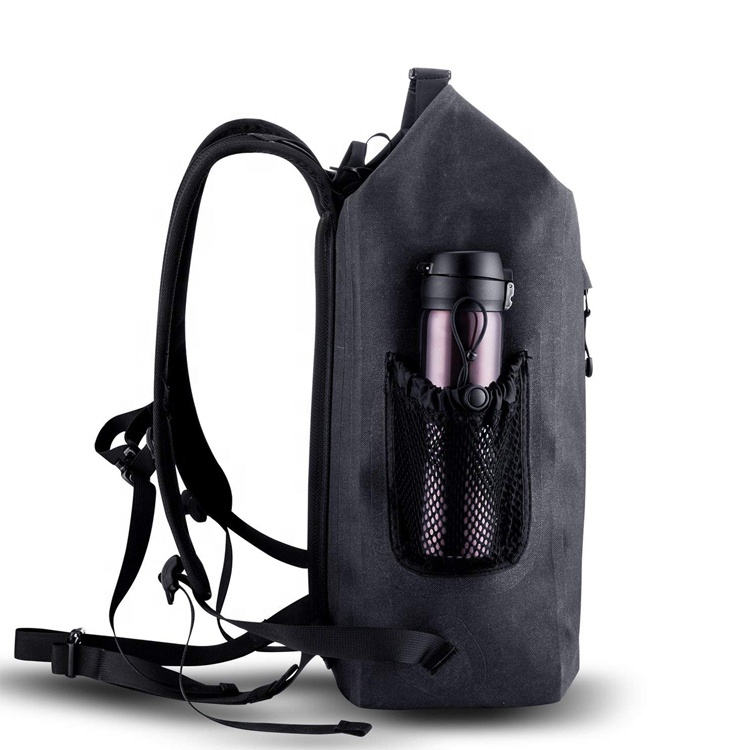 Clear Pvc Side Layer Padded Computer Compartment  Anti Theft  Roll Top 30L TPU Backpack With USB Charging For Laptop