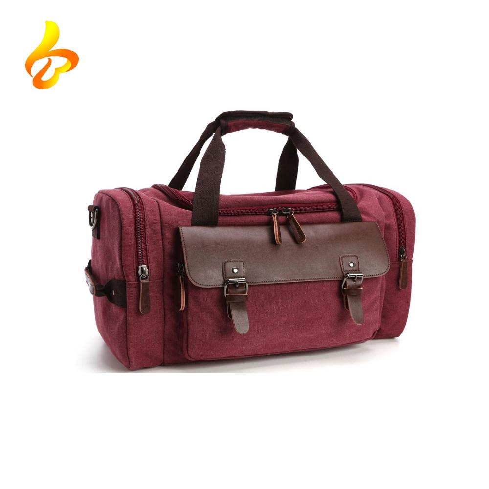 Canvas Genuine Leather Trim Travel Tote Duffel Shoulder Handbag Weekend Bag For Men And Women