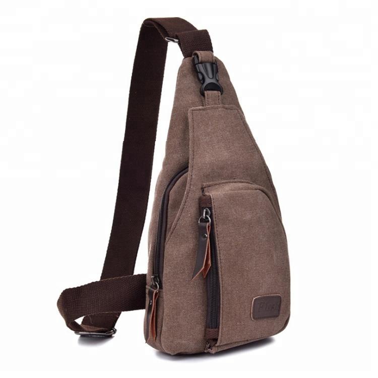 Outdoor Sports Casual Canvas Unbalance Backpack Crossbody Sling Bag Shoulder Bag Chest Bag for Men