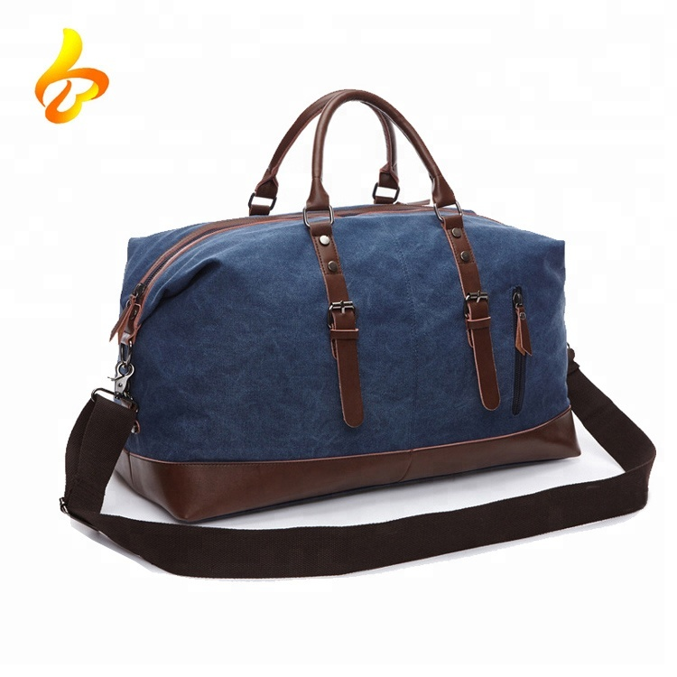 Canvas PU Leather Travel Tote Duffel Bag Carry on Bag Weekender Soft Overnight Bag