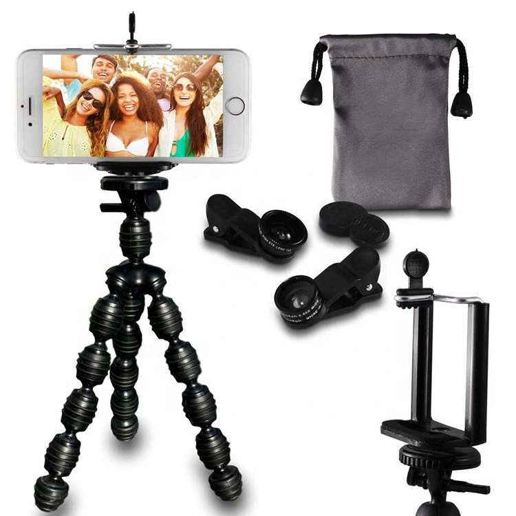 Cell Phone Octopus Tripod Fisheye Wide Angle and Macro Lenses 3 Universal Lens For iphone samsung Featured Image