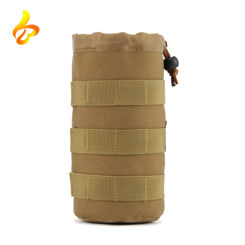 Top Drawstring Open Tactical Molle Pouch Hydration Carrier Travel Water Bottle Bag