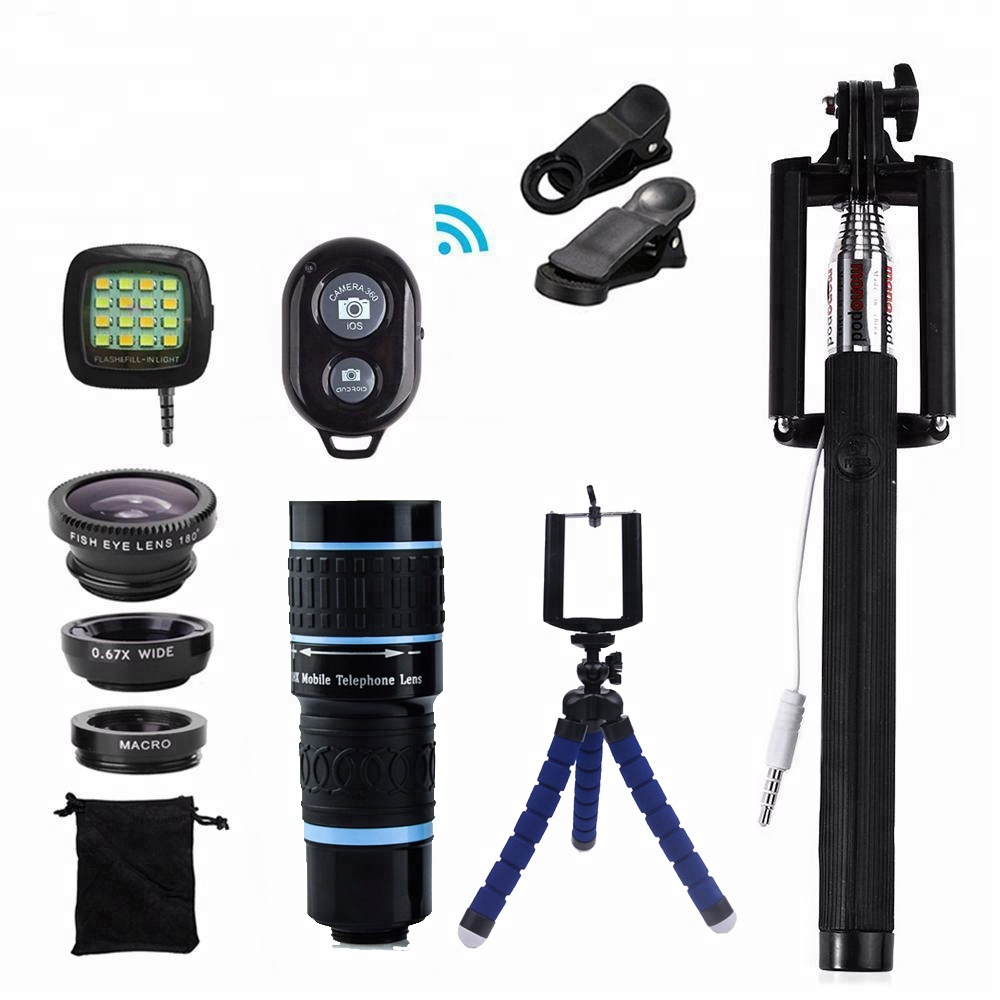 12 in 1 lens Kit, 180 degree Fisheye  0.65 Wide Angle  Wide Angle 18x External Telephoto Lens For Mobile Phone Featured Image