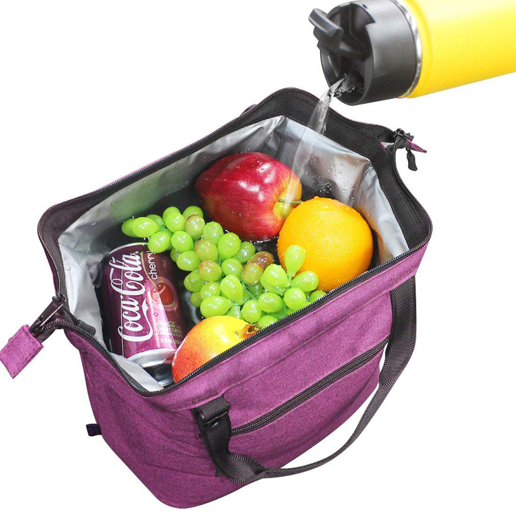 9 Can Lunch Box Cooler Bag Tote Grey Canvas Lightweight Insulated Lunch Bag Cooler with YKK Zipper