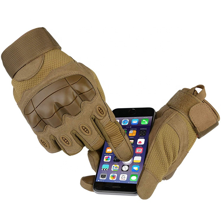 Wholesale Full Size Man Upgraded Rubber Hard Knuckle Touch Screen Full Finger Tactical Gloves For Hunting Riding