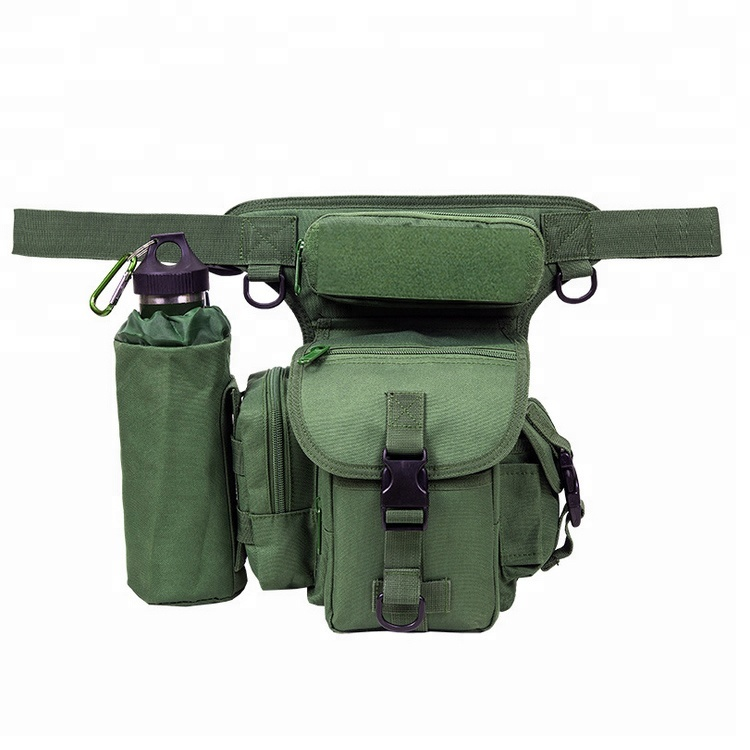 Outdoor Motorcycle Cycling Sports Anti-Tear Canvas Utility Military Satchel Bag With Bottle Holder Featured Image