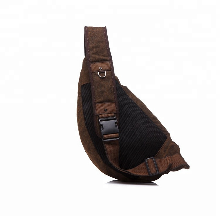 Outdoor Sports Casual Canvas Backpack Crossbody Sling Bag Shoulder Bag Chest Bag for Men