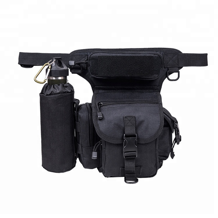Outdoor Motorcycle Cycling Sports Anti-Tear Canvas Utility Military Satchel Bag With Bottle Holder