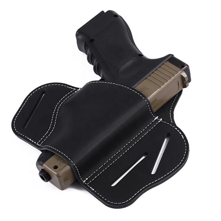 Military Supplies Ultimate 3 Slot Pancake Style Belt Tactical Leather Gun Holster For Handgun