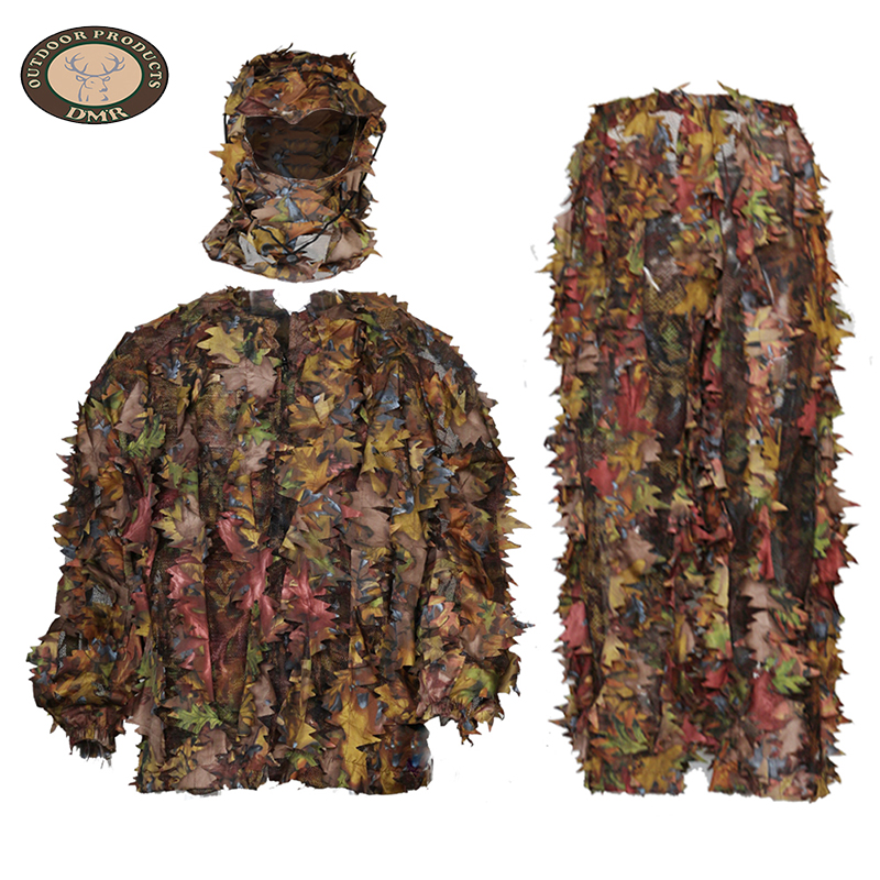 Red net 3D maple leaf hunting camouflage suit LS004