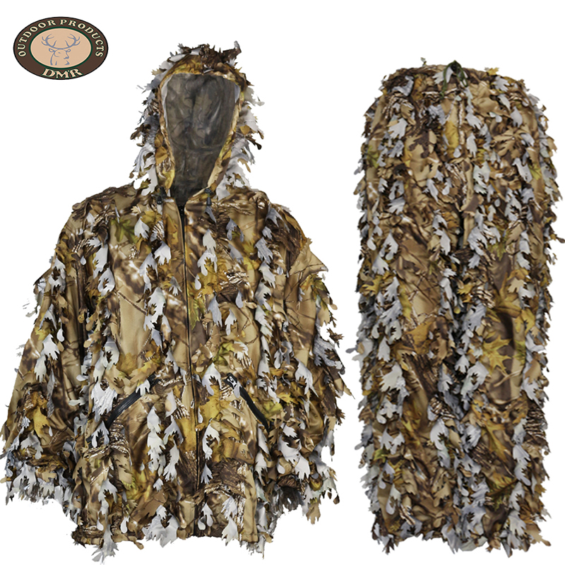 Yellow forest fabric 3D leaf hunting camouflage suit LS028